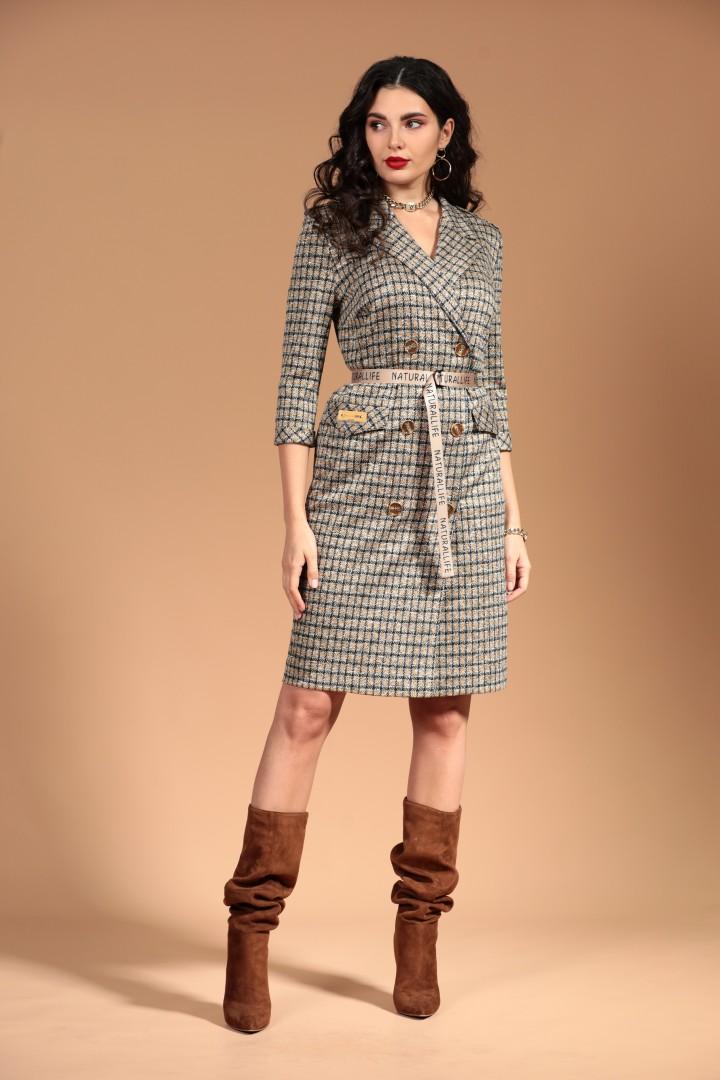 Платье Твой Имидж 1271 серое+горчица