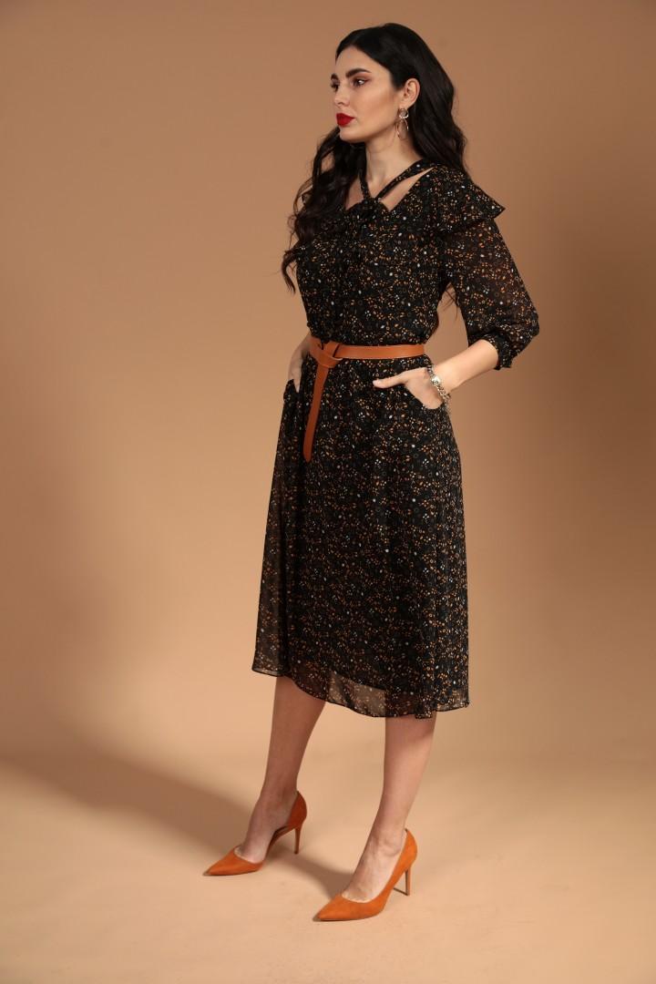 Платье Твой Имидж 1439 черный+ коричневый