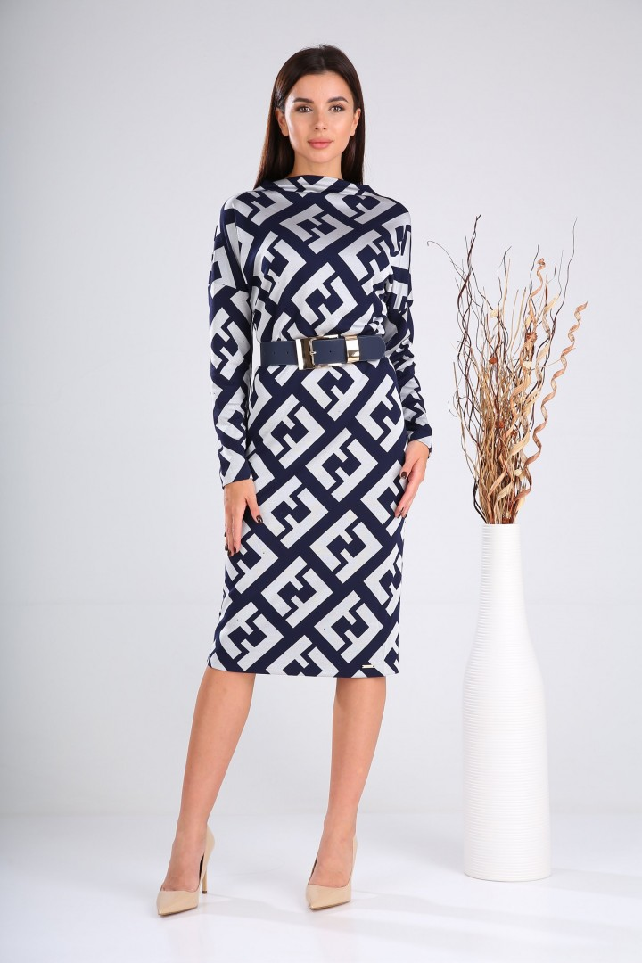 Платье Верита 2030 синий+серебро