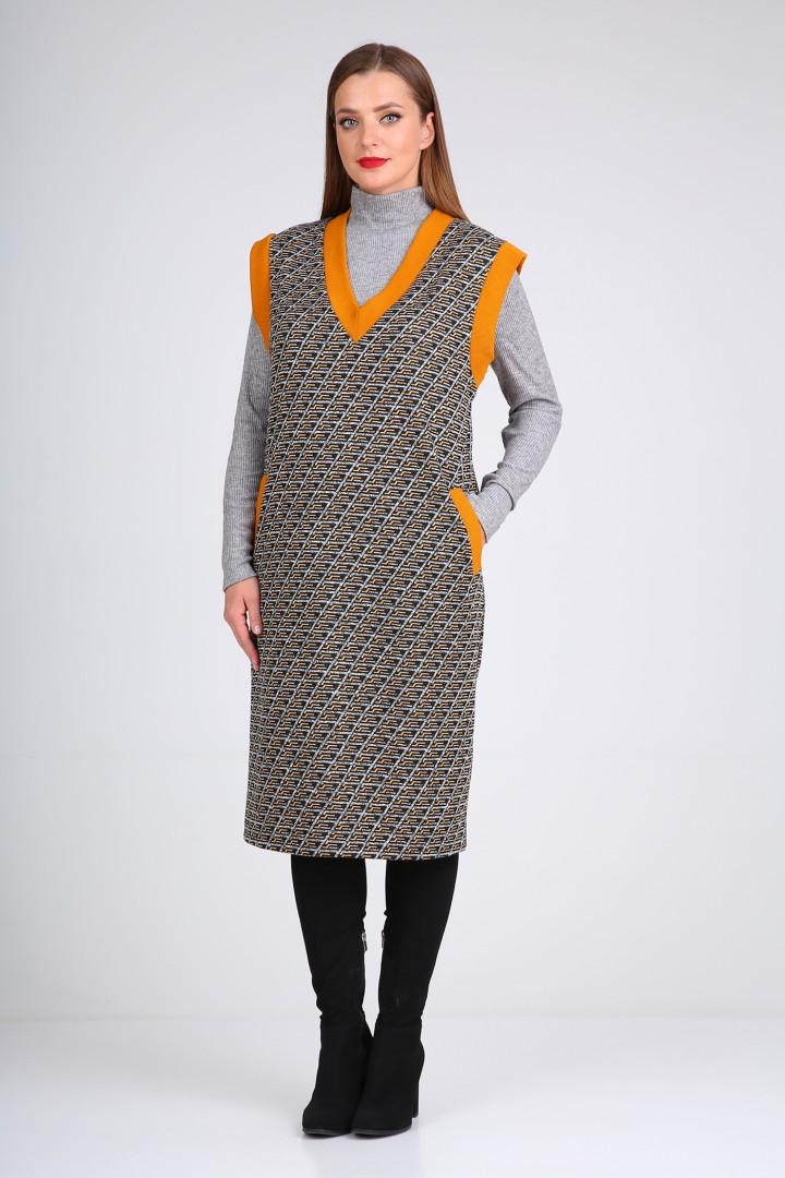 Платье Viola Style 0989 черный с оранжевым