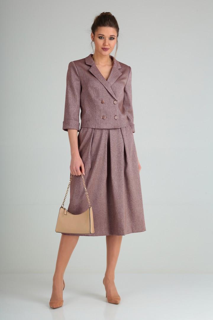 Костюм Viola Style 2655 бордовый меланж