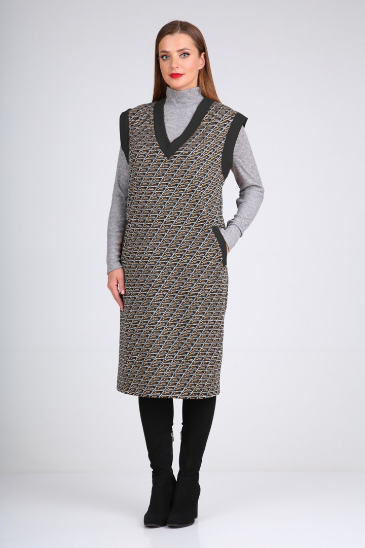 Костюм Viola Style 5492 серый - черный
