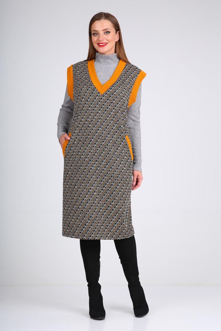 Костюм Viola Style 5492 серый - оранжевый