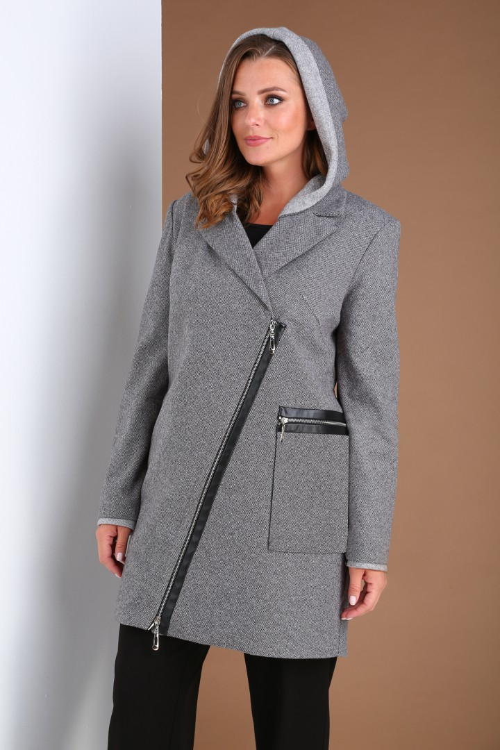 Пальто Viola Style 6037 серый